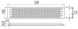 Решетка вентиляционная 500*100 мм инокс