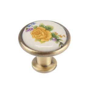 Ручка-кнопка с фарфором, бронза
