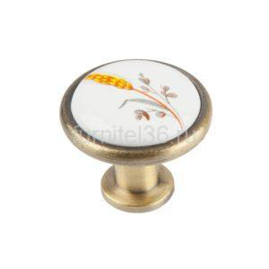 Ручка-кнопка с фарфором Колосок, бронза