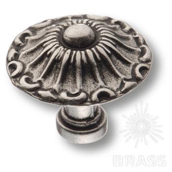 Ручка кнопка классика, старое серебро