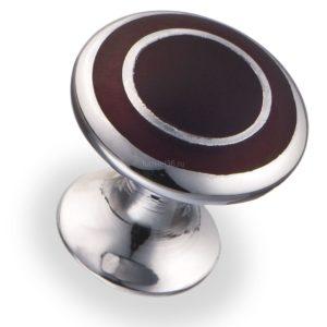 Ручка-кнопка, овал d=22.5 мм, хром/бордо
