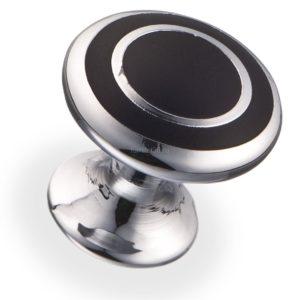 Ручка-кнопка, овал d=22.5 мм, хром/черный