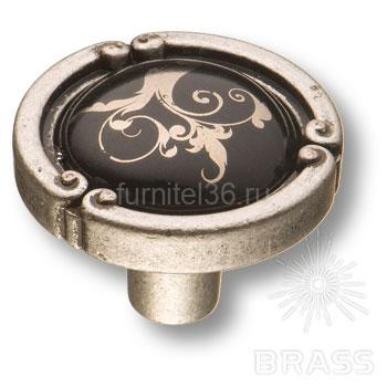 Ручка кнопка керамика с металлом, цветочный орнамент старое серебро
