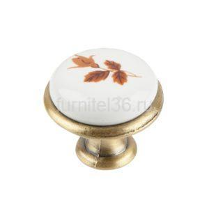 Ручка-кнопка с фарфором Клен, бронза