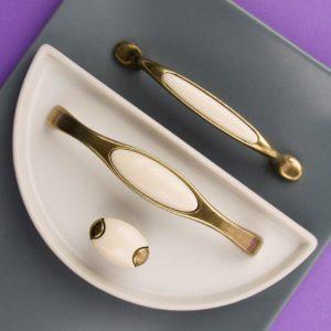 Ручка-скоба с фарфором 128мм, оксидированная бронза