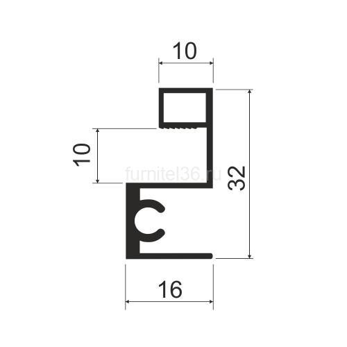 Профиль горизонт.верх MS 213 (F)  серебро 5,8м (163)
