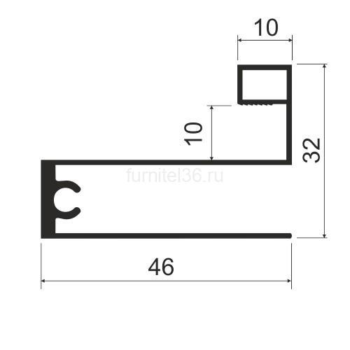 Профиль горизонт.низ MS 223 (F) серебро 5,8м (163)